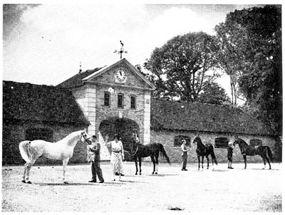Lady Wentworth inspects four of her Arabian stallions, with Coronation Stables, Crabbet Park, providing a beautiful backdrop.