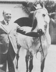 *Raseyn in 1933, at age 10, with Count Alfred Potocki of Poland. It was Count Potocki's uncle, Count Joseph Potocki, who bred Skowronek at his Antoniny Stud. Photo taken in the patio of the Kellogg stables.
