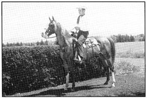 Abu's Rissletta (Abu Farwa x Alleyna (Alla Amarward x Rifeyna)) Bred by and purchased from H.H.Reese. The rider is a young Bruce Clark, later well known as co-owner of Bru-Mar-Ba Stud. An important mare at that stud was Skyline-bred Rasim's Ghazayat. Abu's Rissletta was later purchased and shown by another youngster, Joyce Stockdale, who later married Ron Palelek of Vantage Point Farm. When not carrying youngsters in the show ring, Abu's Rissletta was having foals, including the important Risseyn for Berry's Skyline Arabians in Iowa. Risseyn was trained and shown by daughter Lyn, later Lyn Freel of Crystal Castle Arabians.
