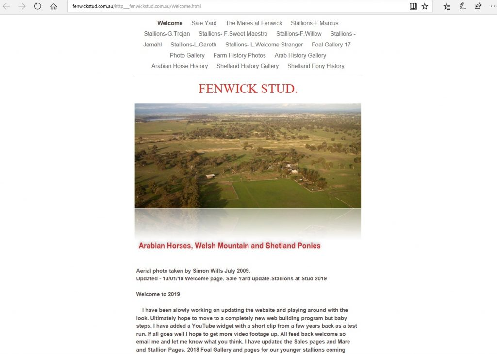 Fenwick Stud (AU). Long time breeder of Pure Crabbet Arabians, and importer of stock directly from Crabbet Stud.