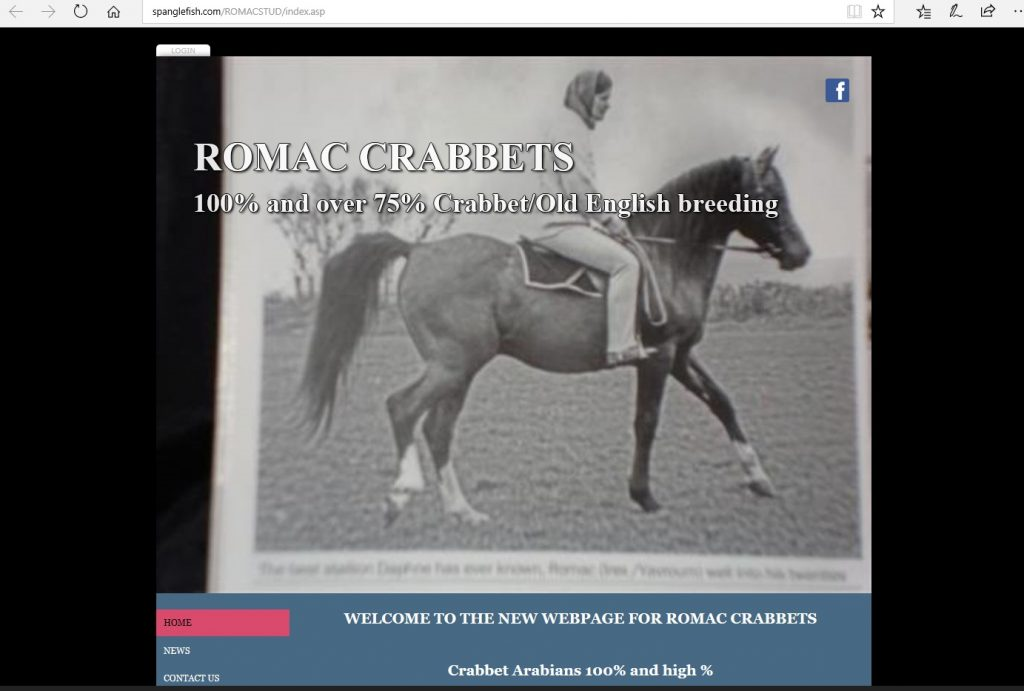 Romac Stud (UK). Breeding Pure Crabbet and high-percentage Crabbet Arabians.