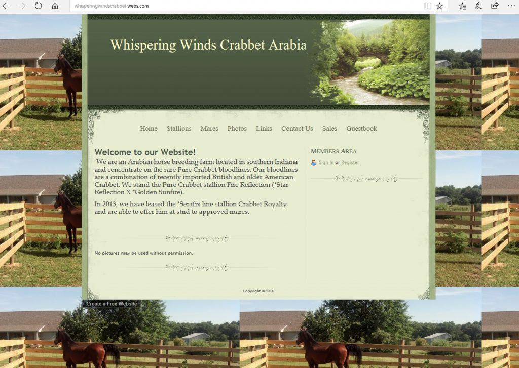 Whispering Winds Arabians. Breeding Pure Crabbet Arabians.